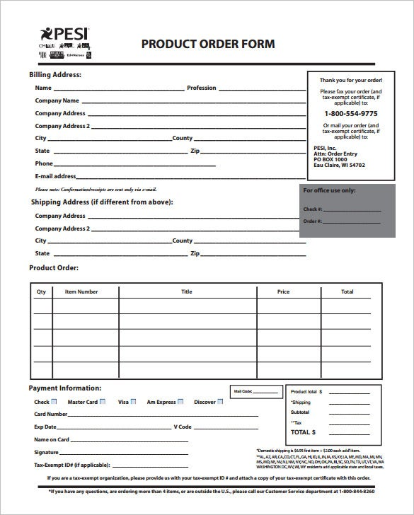 order form template  u2013 27  free word excel  pdf  documents download