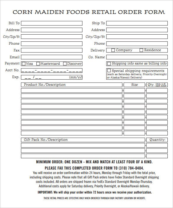 simple order form template pdf doc download