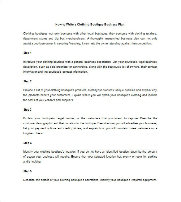 Boutique Business Plan Template Free Sample Example Format - Boutique hotel business plan template