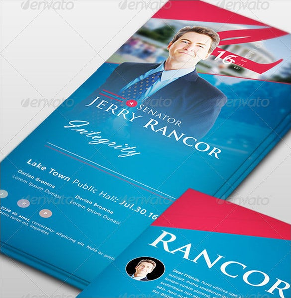 political election psd palm card template
