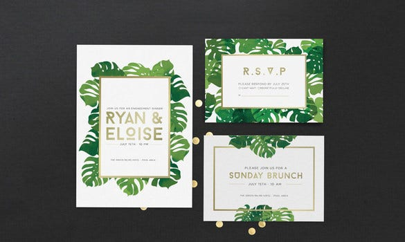 tropical palm card psd template download