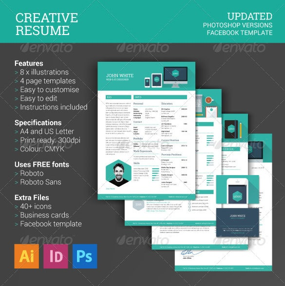 creative resume template psd eps format download