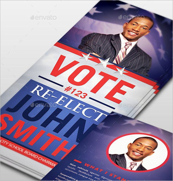 re election psd palm card template