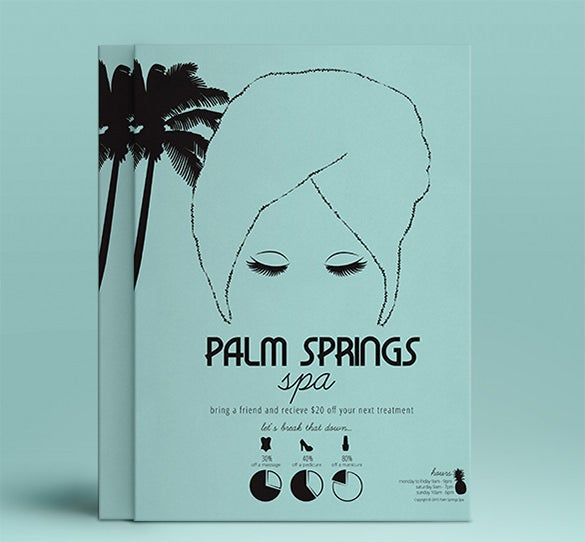 spa designed palm card template
