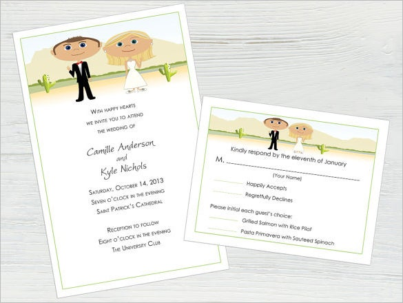 wedding invitation palm card template
