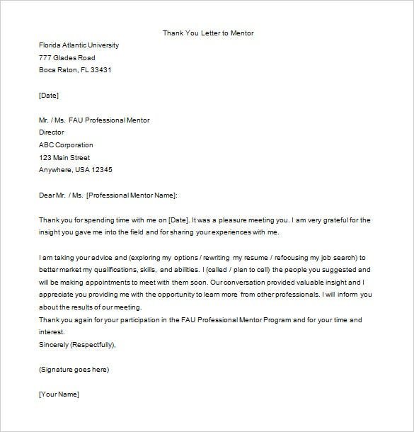 Thank You Letter To Mentor 9 Free Word Excel PDF Format – Formal Thank You Letters