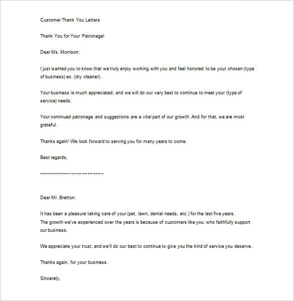 sample thank you for your business letter free download