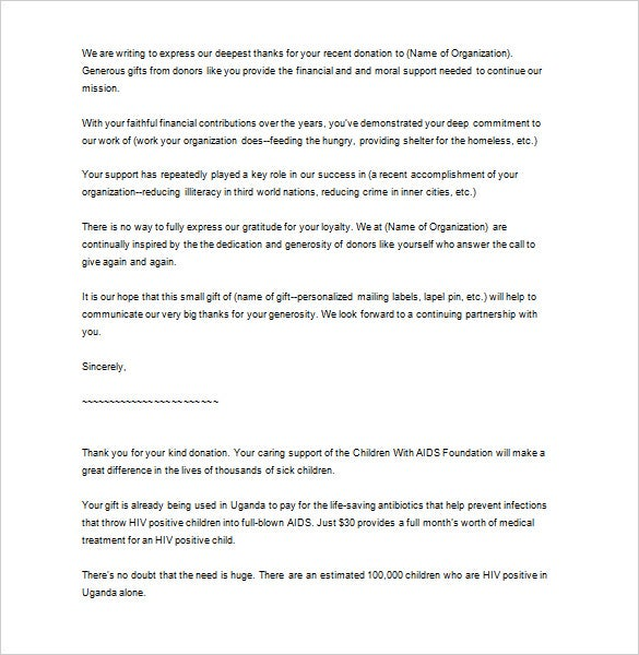 business thank you letter for donation download