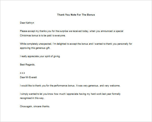thank you letter to boss for bonus