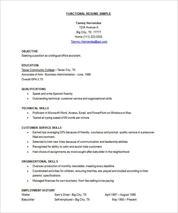 functional resume template free sample microsoft download doc