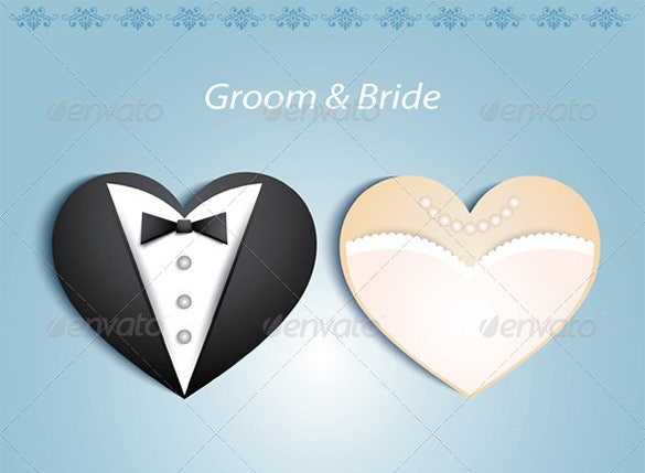heart shaped wedding card eps template download