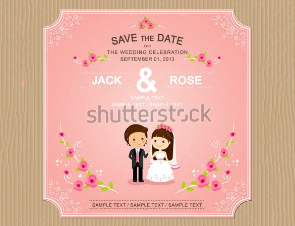 Pink Colour Wedding Invitation Card