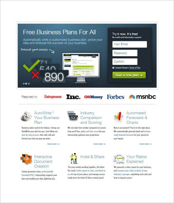 Write a business plan online