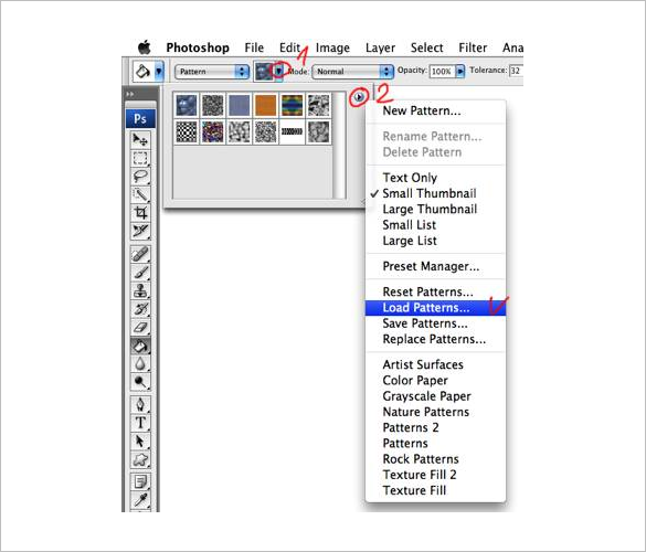 myphotoshopbrushes how to install patterns in adobe photoshop cs3