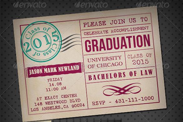 graduation invitation psd card template