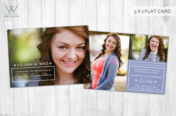 senior graduation announcement card psd template