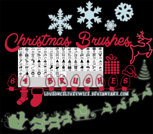 64 free photoshop christmas brushes