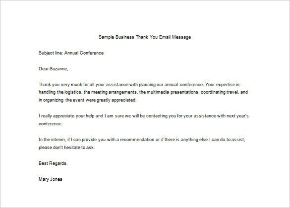sample business thank you email message word doc