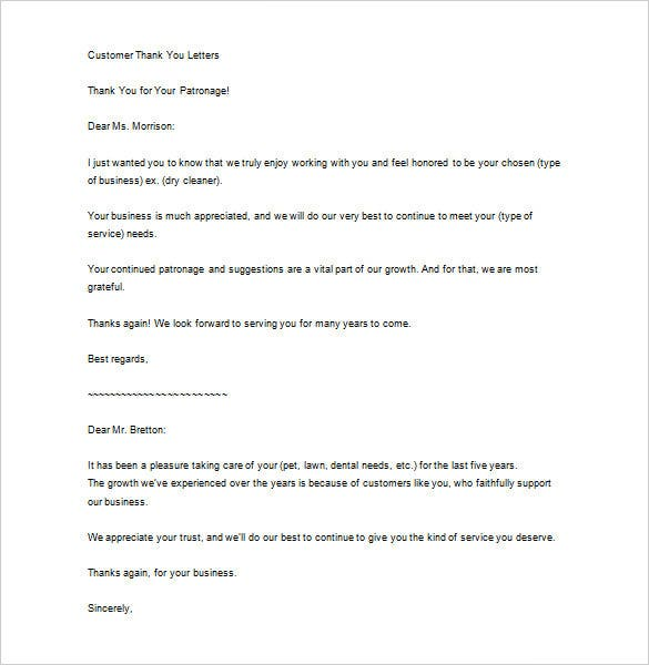 Sample Business Thank You Letter To Customer
