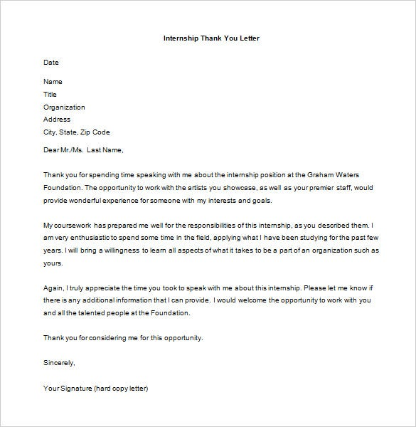 free internship interview thank you letter ms word download
