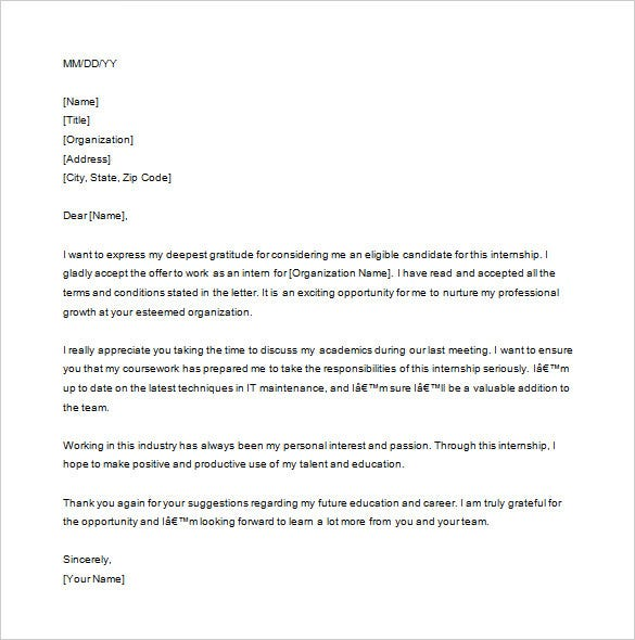 before internship thank you letter free download