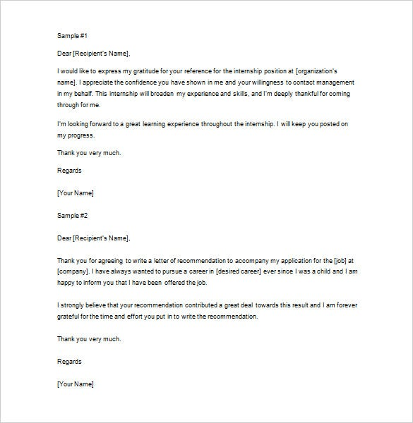 Thank You Letter For Recommendation   Free Word Excel Pdf