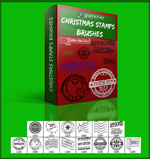 14 christmas stamps photoshop brushes for you