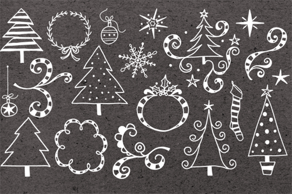 19 premium christmas doodle photoshop brushes