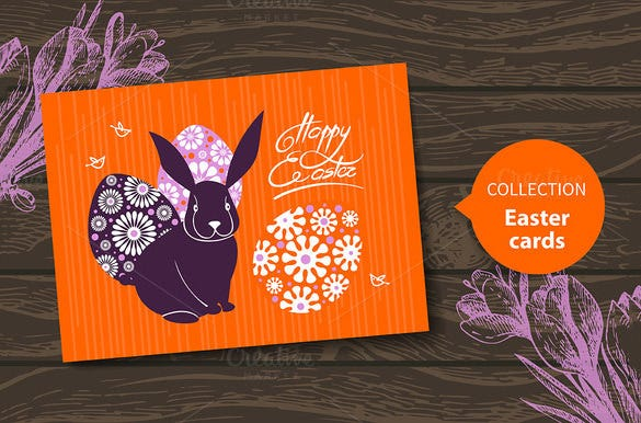 cute happy easter card template download