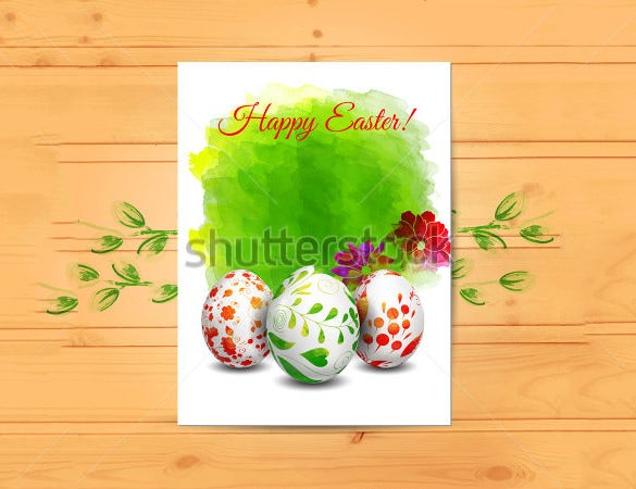 easter card template with eggs on wood