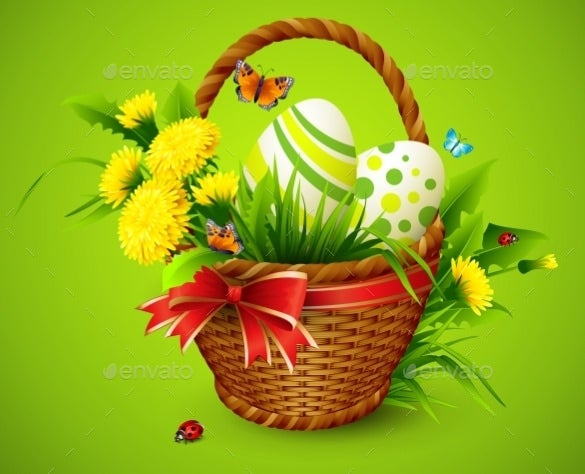 green background easter card template