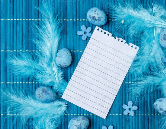 blue colour easter greeting card template