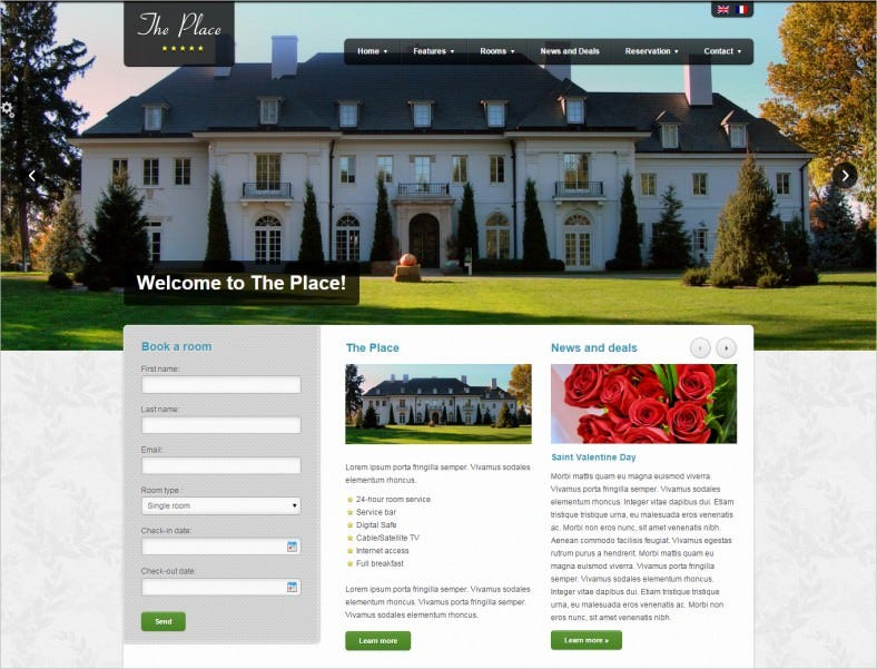 the place hotel wordpress theme 788x601