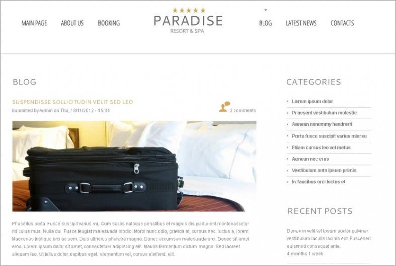 free wordpress theme for hotel 788x530