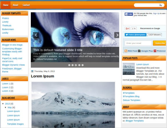excellent 3 columns layout free blog template1