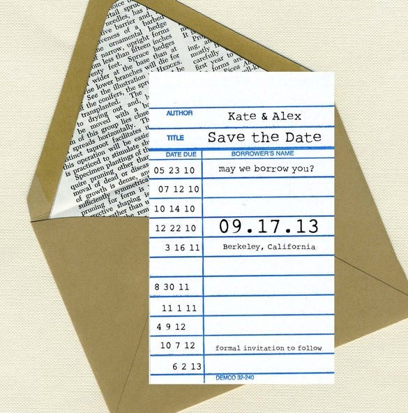 save the date library card template