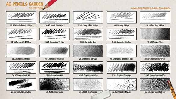 30 fabulous premium pencil photoshop brushes