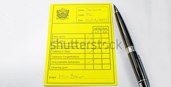 yellow colour report card template
