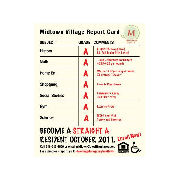 midtown village report card template