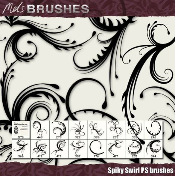 amazing spiky swirls photoshop brushes download
