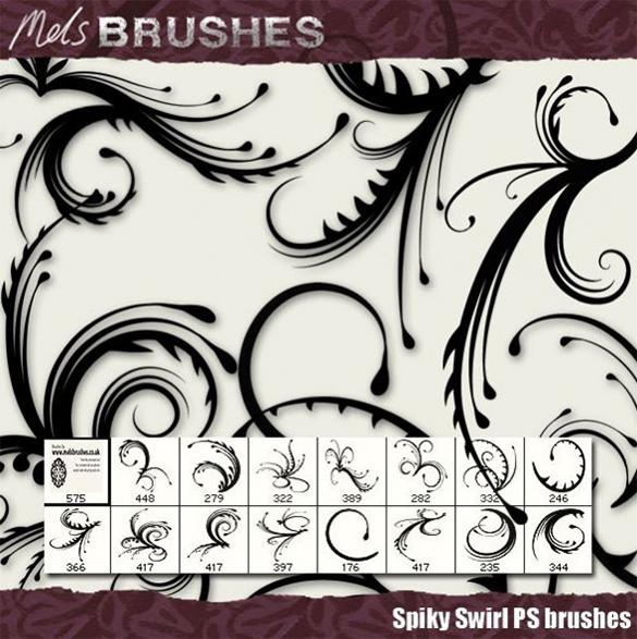 amazing spiky swirls photoshop brushes download