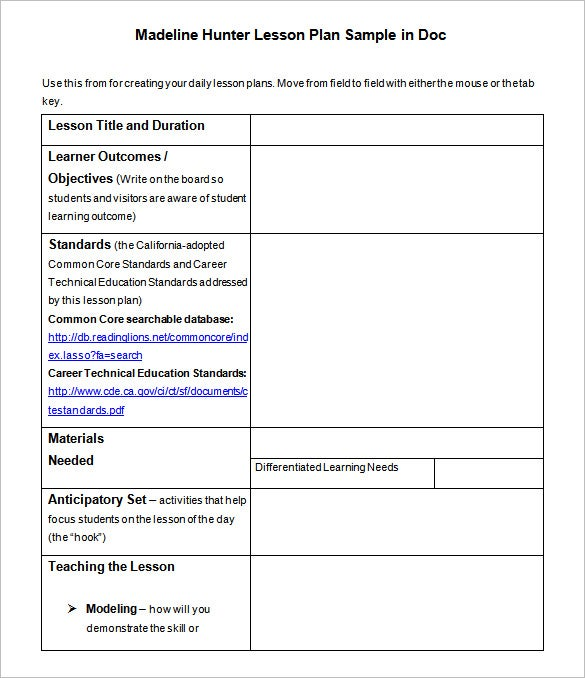 direct instruction lesson plan format