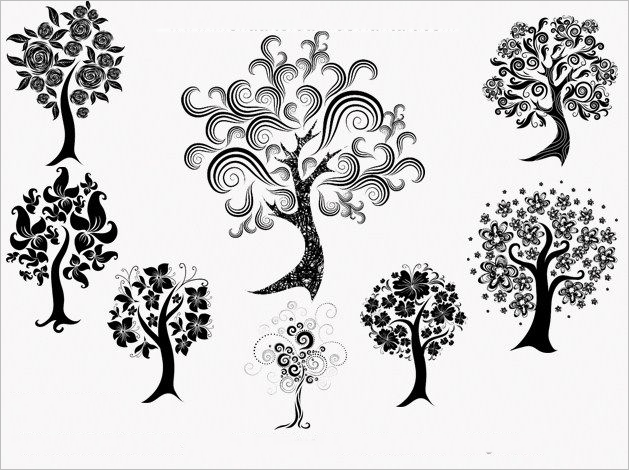 decorative trees photoshop brushes free download