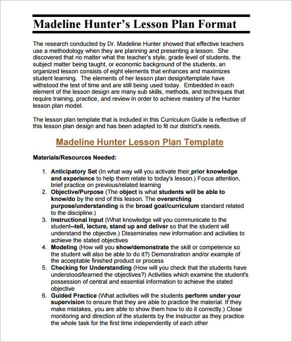 madeline hunter lesson plan format pdf