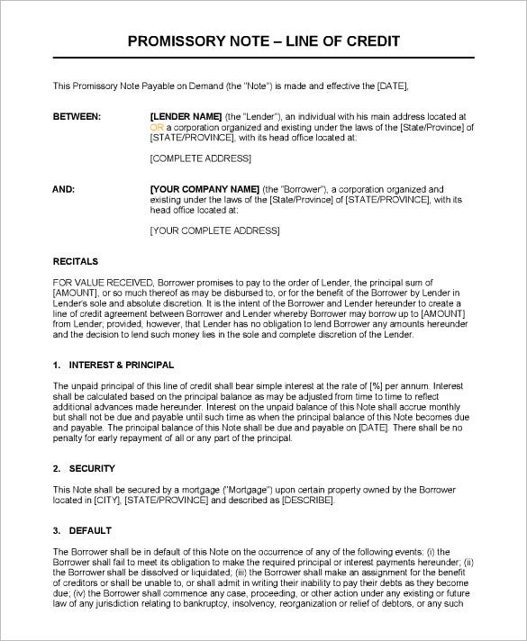 line of credit promissory note doc download