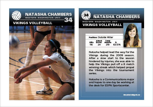trading card template for sports