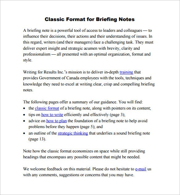 classic briefing notes format download