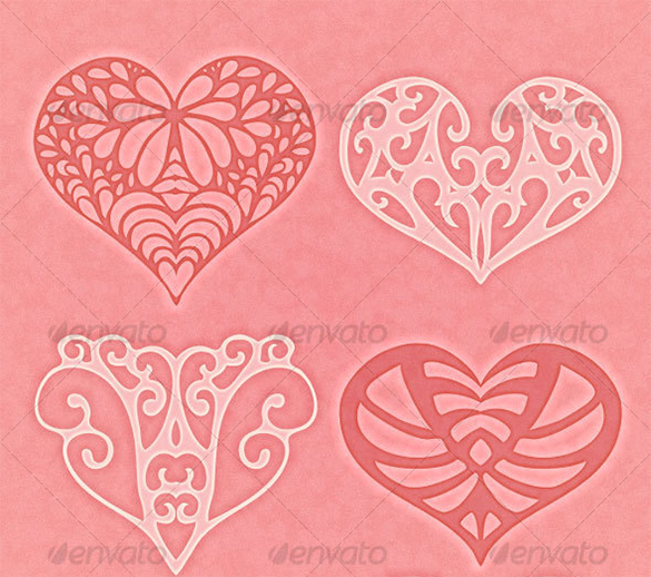8 heart photoshop brushes premium download