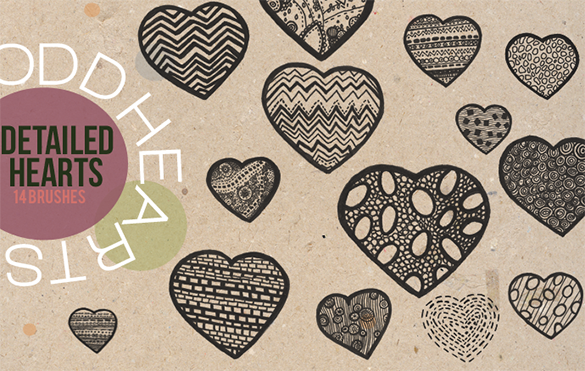 14 flawless heart photoshop brushes