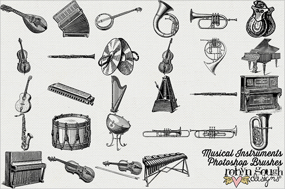 28 premium vintage music photoshop brushes